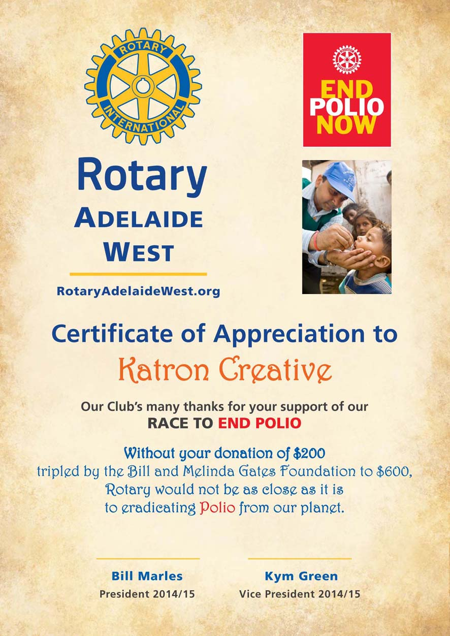 Rotary club of noosa heads queensland australia join for Rotary certificate of appreciation template